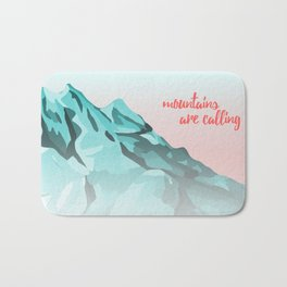 Mountains Are Calling Typography Design Bath Mat