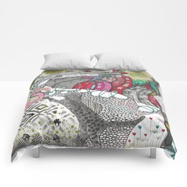 """Flamingo""  Illustrated print Comforters"