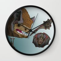bats Wall Clocks featuring Bats by Akira Hikawa