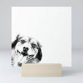 Dog peeking Black & White Mini Art Print