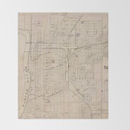 Vintage Map of Terre Haute Indiana (1876) Throw Blanket