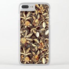 Pomegranate Pattern Gold On Dark Filigree Clear iPhone Case