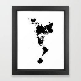 Dymaxion World Map (Fuller Projection Map) - Minimalist Black on White Framed Art Print
