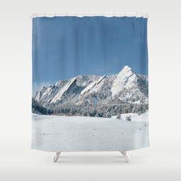 Snowy Flatirons Shower Curtain