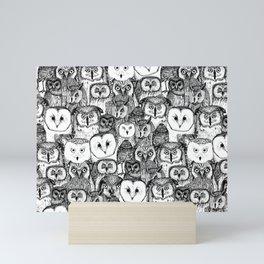 just owls black white Mini Art Print