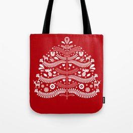 Scandinavian Folk Art Christmas Tree Tote Bag