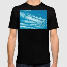 Beautiful blue sky and fluffy clouds MEDIUM Black Mens Fitted Tee
