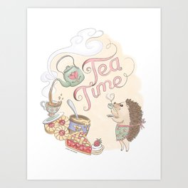 Tea Time with Harriet Hedgehog Art Print