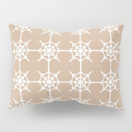 Radial Arrows Clover Pattern - White and Hazelnut Pillow Sham