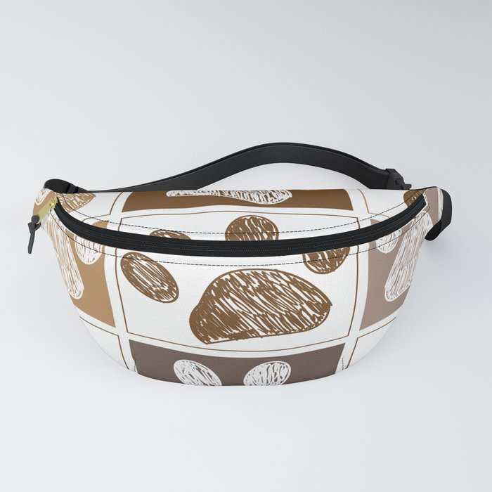 Doodle paw print pattern with brown square Fanny Pack