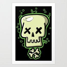 Toxic skull and crossbones green Art Print