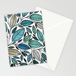 Leaf Illustration - Blue Green - P07 010 Stationery Cards