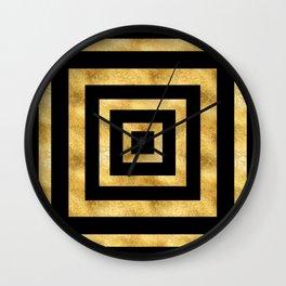 ART DECO SQUARES BLACK AND GOLD #minimal #art #design #kirovair #buyart #decor #home Wall Clock