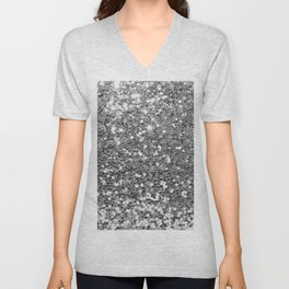 Chic faux silver abstract sequins glitter modern pattern Unisex V-Neck