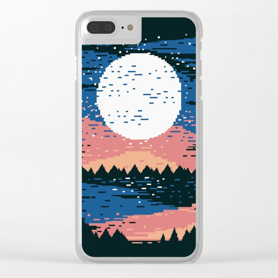 Starry Pixel Night Clear iPhone Case