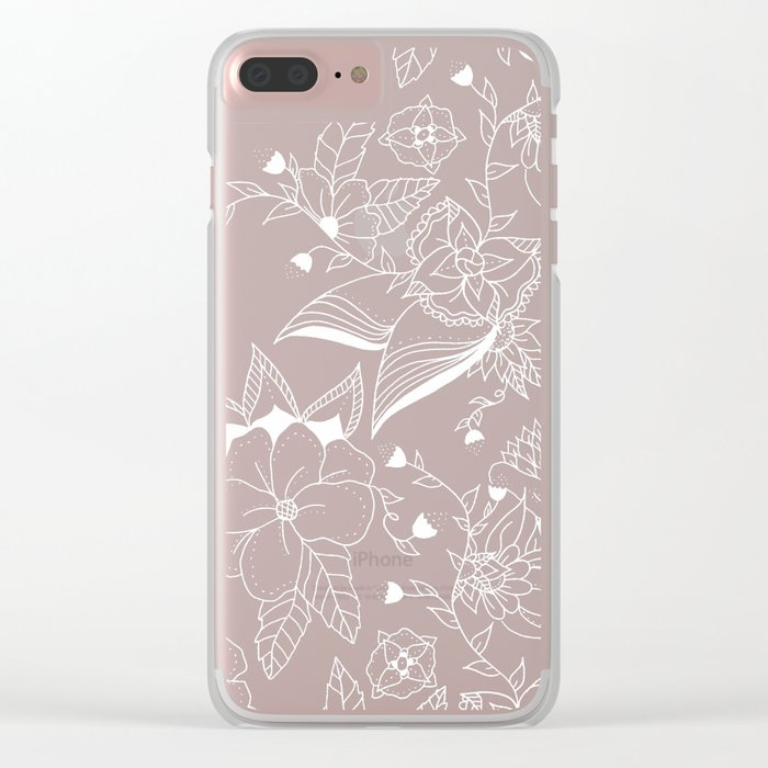 Modern summer pink orange sunset watercolor floral hand drawn illustration Clear iPhone Case