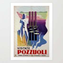 Pozzuoli ancient Greek Roman city Italy travel ad Art Print