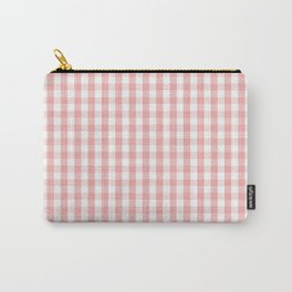 Large Lush Blush Pink and White Gingham Check Carry-All Pouch