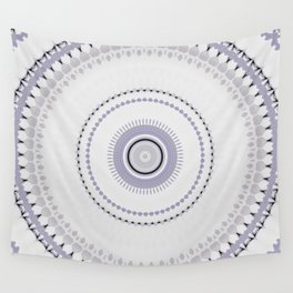 White and light Purple simple Mandala Design Wall Tapestry