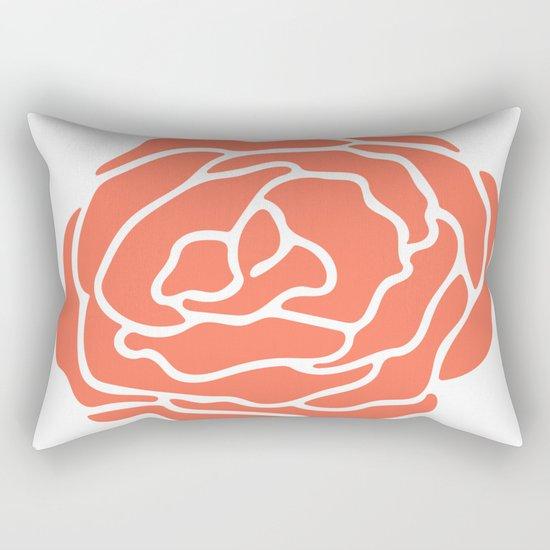 Rose Deep Coral on White Rectangular Pillow