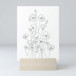 Poppy Flowers Line Art Mini Art Print