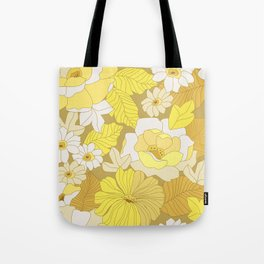Yellow, Ivory & Brown Retro Flowers Tote Bag