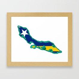Curacao Map with Flag Framed Art Print
