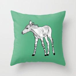 Somali wild ass foal - green Throw Pillow