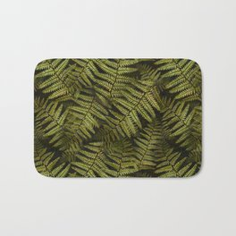 Among the ferns in the forest (military green) Bath Mat