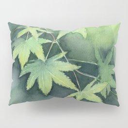 Japanese Maple Watercolor Green Leaves Pillow Sham