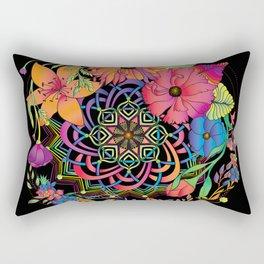 Neon Mandala and Flowers Rectangular Pillow