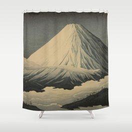 Shotei Takahashi Four Seasons of Mount Fuji Near Omuro Kawase Hasui Japanese Woodblock Print Shower Curtain