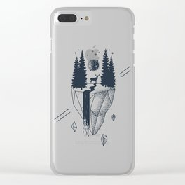 Creative Illustration In Geometric Style. Nature, Deer, Forest And River Clear iPhone Case
