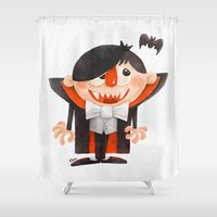 dracula Shower Curtains featuring Dracula kid by Lime