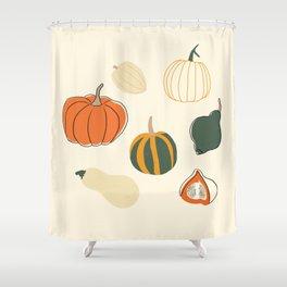 Fall Is in the Air // Hand Drawn Squahes Art Shower Curtain