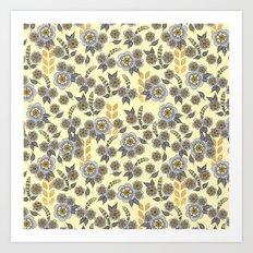 Golden floral with silver on beige Art Print