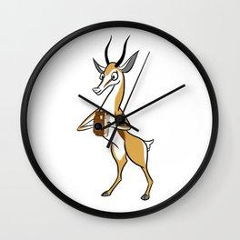 Springbok with a folding camera Wall Clock
