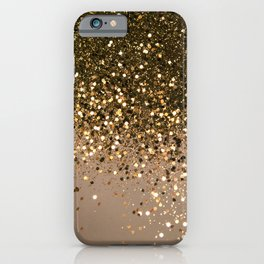 Sparkling Gold Brown Glitter Glam #1 (Faux Glitter) #shiny #decor #art #society6 iPhone Case