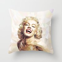 low poly Throw Pillows featuring Marilyn low poly by Pinkpulp