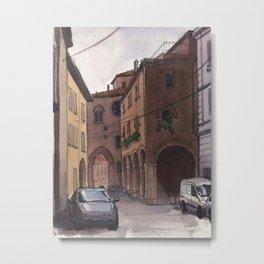 STREET SCENE, Bologna Travel Sketch by Frank-Joseph Metal Print