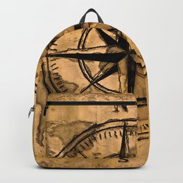 Destinations - Compass Rose and World Map Backpack