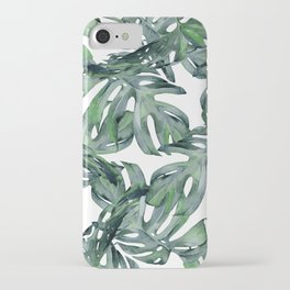 Tropical Palm Leaves Green and White iPhone Case