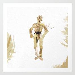 Grunge C3PO Art Print