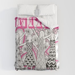 United Against Cancer - Breast Cancer Awareness - Zentangle Women Comforters