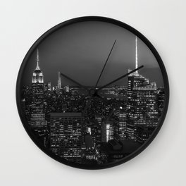 The Empire State and the city. Black & white photography Wall Clock