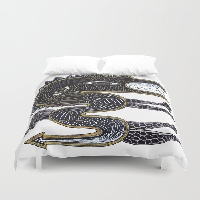 decorative surreal dragon Duvet Cover