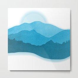 Mountains Dreaming -Watercolor  Blue  Metal Print