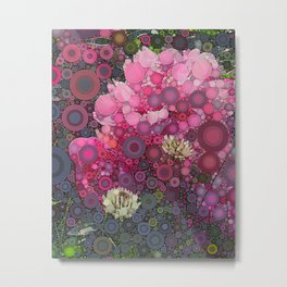 Pink Flowers at Twilight Abstract Metal Print