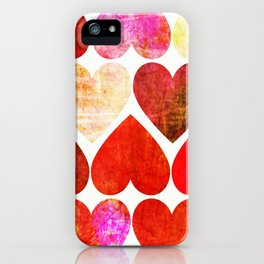 Mod Red Grungy Hearts Design iPhone Case