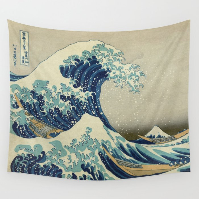 the great wave off kanagawa wall tapestry by palazzoartgallery